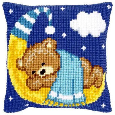 Набор для вышивания подушки Медвежонок-мальчик на луне   PN-0148196