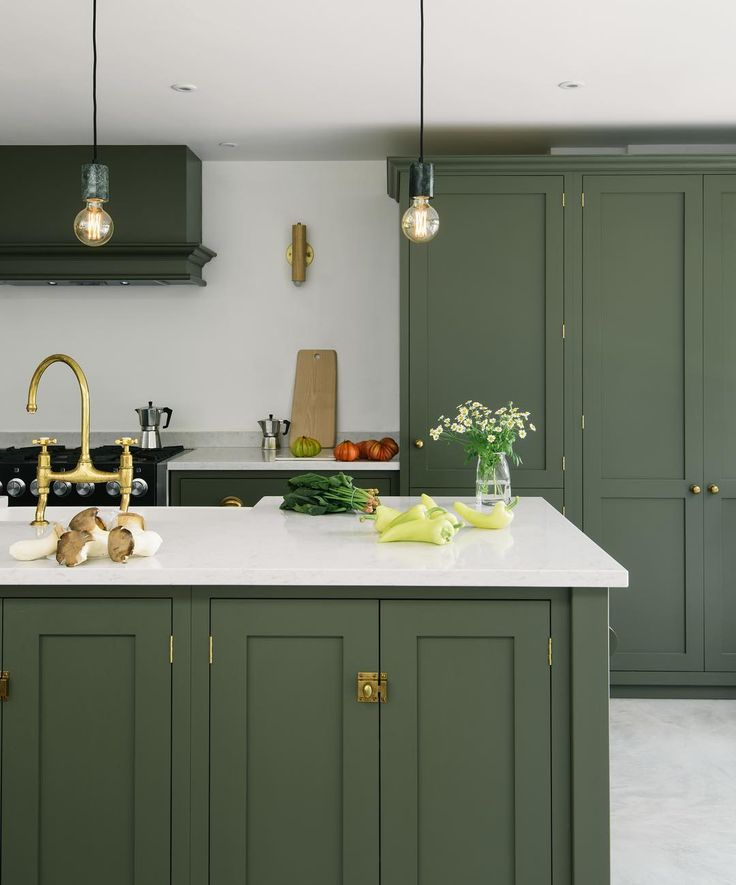 devol kitchens on instagram a classic deep olive green paint colour sleek pale silestone on kitchen id=32458