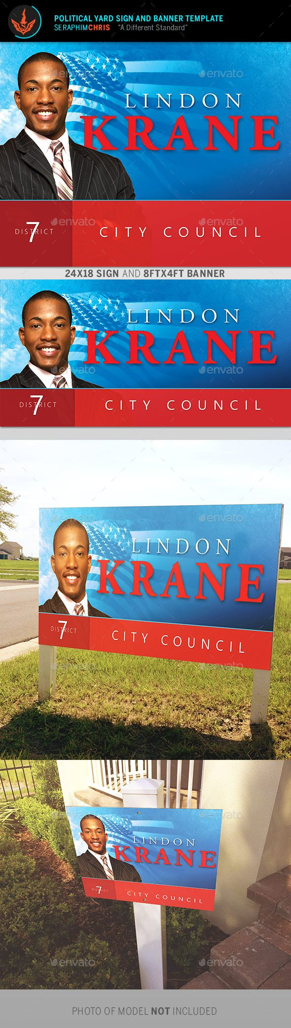 Political Yard Sign and Banner Template 5 - Signage Print Templates