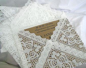 Napperon dentelle enveloppes, mariage Invitation enveloppes à la main, blanche, Shabby Chic mariage revêtements Extra Large taille 6 x 9 A5 C5 dentelle enveloppe