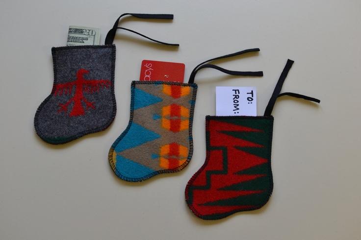Pendleton Wool Christmas Stocking GIFT CARD HOLDER, Gift Tag,  money holder, cash holder, ornament - Native American pendleton blanket wool. $5.00, via Etsy.
