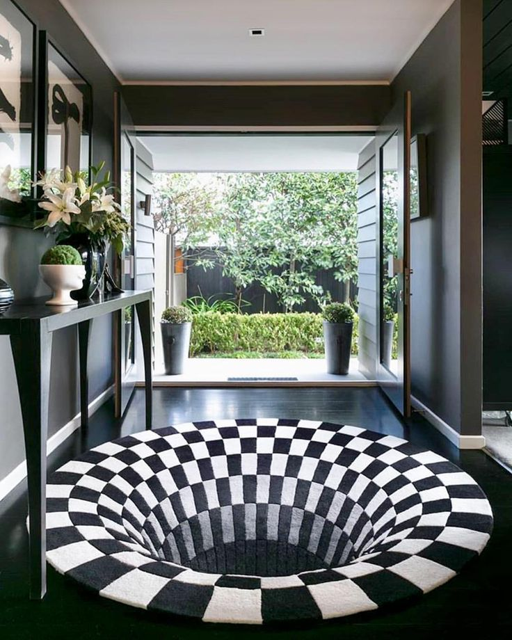 Such A Great Optical Illusion , Black Hole Rug By Daniel