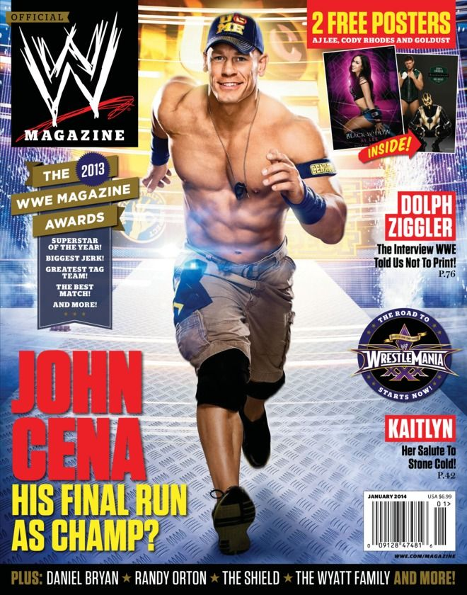 "WWE Magazine - January 2014 : The Road to WrestleMania starts in the January issue of WWE Magazine with cover star John Cena! Will this be his final run as The Champ? Celebrate the best of 2013 with the 8th Annual WWE Magazine Awards! Find out who took home Superstar of the Year, Best Match, Biggest Jerk and more! Also, Kaitlyn offers her salute to Stone Cold, The Show Off shoots off his mouth, the debut of the Superstar ""Hurt...   More"