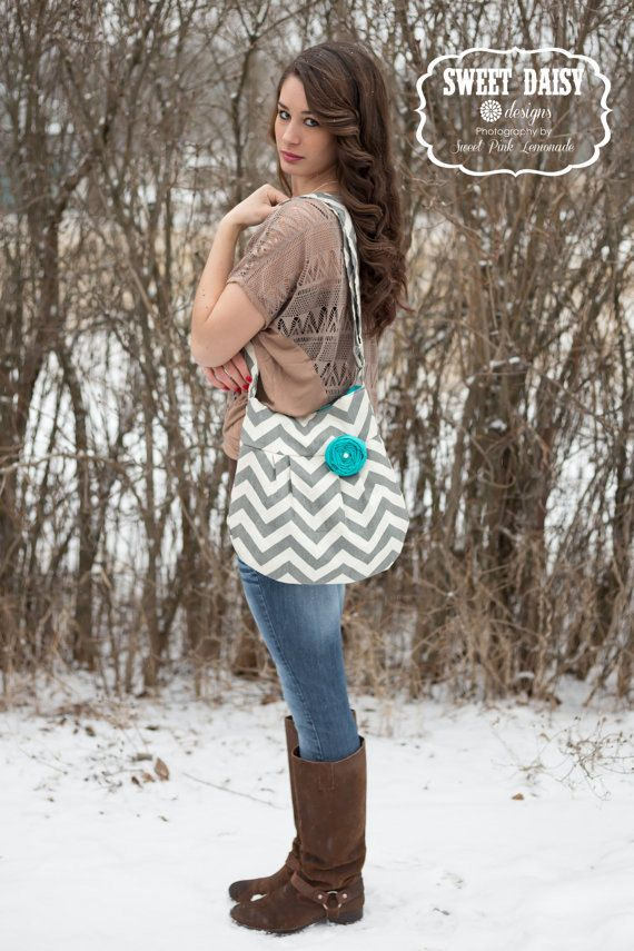 CONCEALED CARRY-- Chevron Zig Zag Grey Small Cross Body Handbag Zipper Closure on Etsy, $84.99