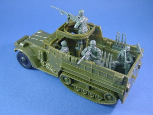 Plastic Toy Soldiers WWII Playset US Army Halftrack with Crew Marx Compatible | eBay