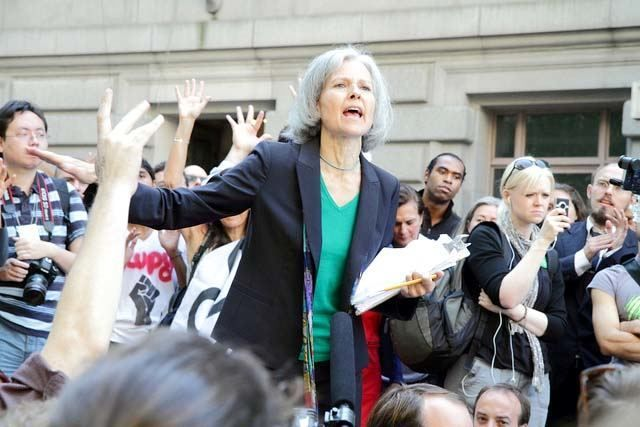 Jill Stein, who ran as the Green Party presidential candidate in 2012, speaks at an Occupy Wall Street demonstration in Bowling Green, New York, September 17, 2012. Photo credit: Paul Stein