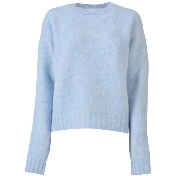 Celine Wool Sweater (£505) ❤ liked on Polyvore featuring tops, sweaters, baby blue, wool tops, woolen sweater, round neck top, baby blue sweater and blue top