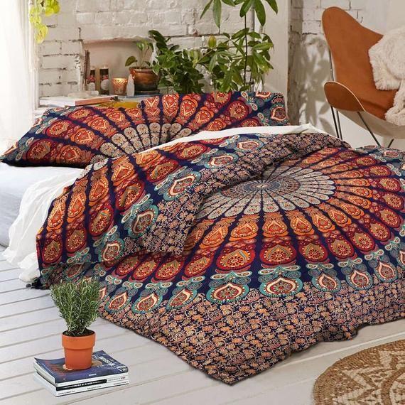Indian Mandala Doona Duvet Cover Hippie Quilt Cover Bedding Etsy In 2021 Mandala Duvet Cover Boho Duvet Cover Handmade Duvet Covers