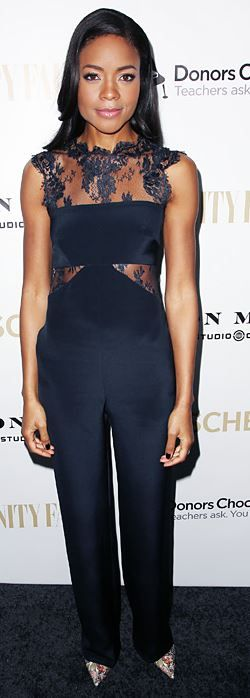 Naomi Harris: Jumpsuit – Monique Lhuillier  Shoes – Christian Louboutin