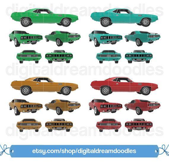 Muscle Car Clipart, Hemicuda Clipart, Hemi Cuda Classic Car, Vintage Auto Graphic, Pony Car Vehicle Scrapbooking, Instant Digital Download