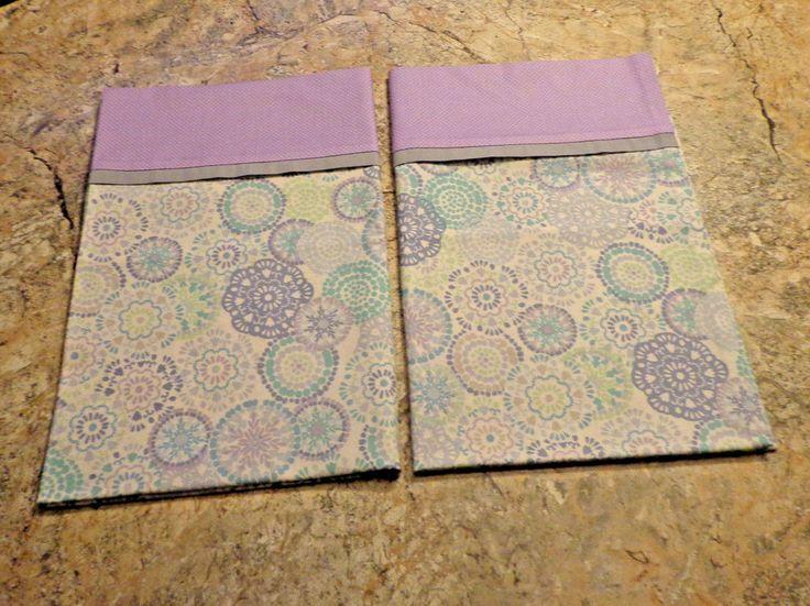 2 New Purple Blue Gray White Handmade Pillowcases standard/queen *FREE SHIP* #Handmade