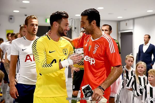 LONDON, ENGLAND - AUGUST 05: Hugo Lloris of Tottenham Hotspur and Gianluigi Buffon of Jeventus greet eachother in the tunnel prior to the Pre-Season Friendly match beween Tottenham Hotspur and Juventus at Wembley Stadium on August 5, 2017 in London, England