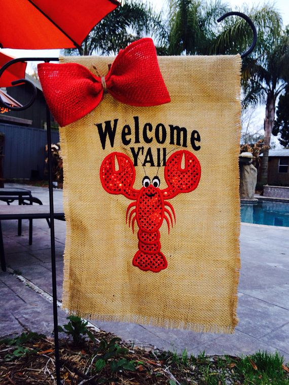 Trendy Crawfish Welcome Monogram Burlap Garden Flag by NolaChicks