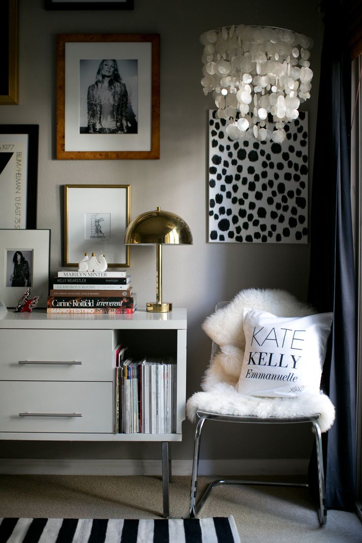20 Chic Ways to Organize Your Office (shell chandelier, striped rug, wall pics, spots)