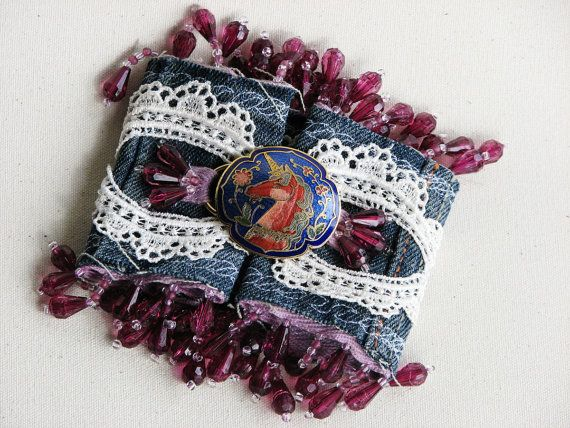 Upcycled Denim Cuff Bracelet made from Recycled Blue Jeans - Purple Unicorn