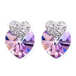 Swarovski Elements Silver Crystal Vitrail Light Double Heart Stud Earrings
