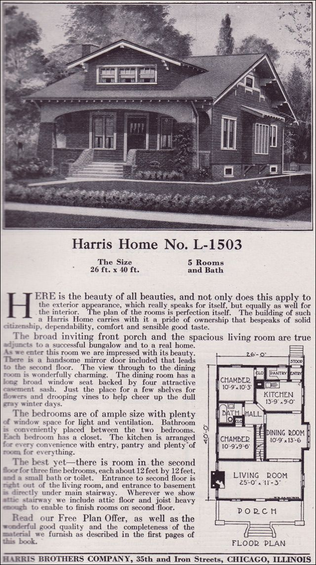 1918 Harris Bros Co Kit Home Catalog Plan L 1503 One