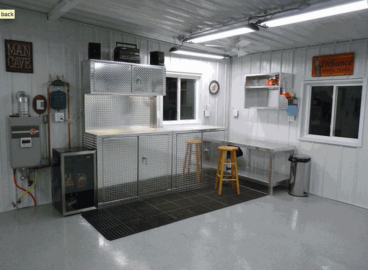 Five Piece Diamond Plate Garage Organization   Car Guy Garage. I Love The  Bright Lighting! I Cant Stand Poorly Lit Rooms.