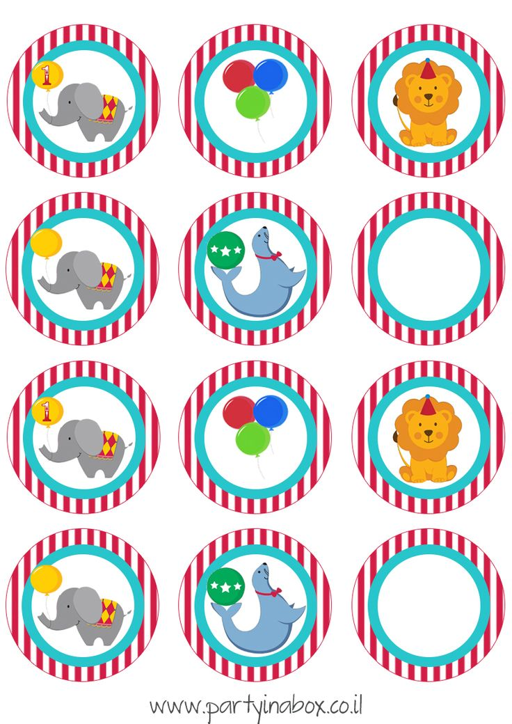 cupcake toppers sheet circus time free-1.jpg (827×1169)