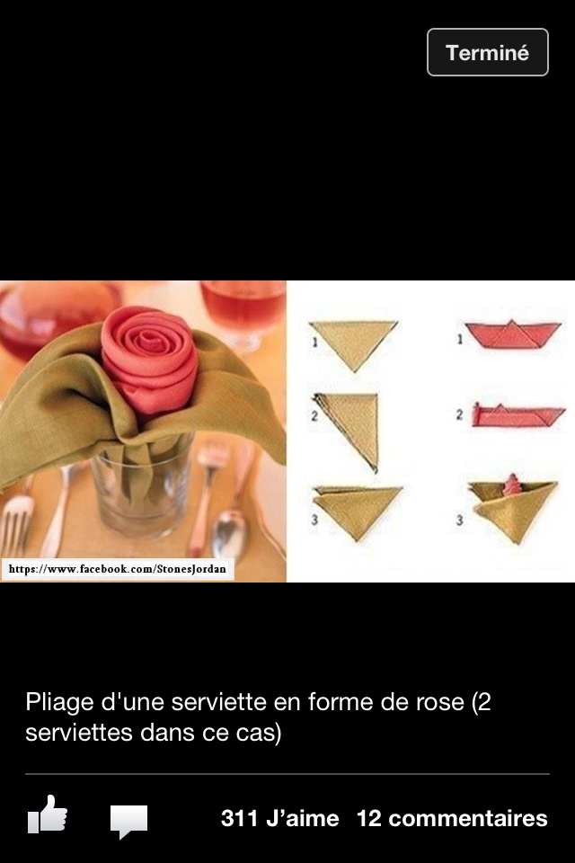 17 best images about pliage de serviettes on pinterest vietnam origami and blue baby showers for Pliage serviette bouton de rose