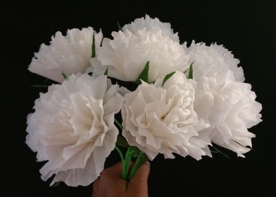 ONLY 1.50 Each, 12 White Crepe Paper Peony Flowers, Peonies, White Party Decorations, Mexican Flowers, Tissue Paper Poms, Wedding Flowers
