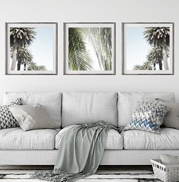 Palm Print Set Of 3 Prints Printable Wall Art Prints Downloadable Prints Digital Prints Coastal Wall Art Palm Tree Photography Prints Framed Wall Art Sets Black And White Wall Art Frames #palm #tree #in #living #room