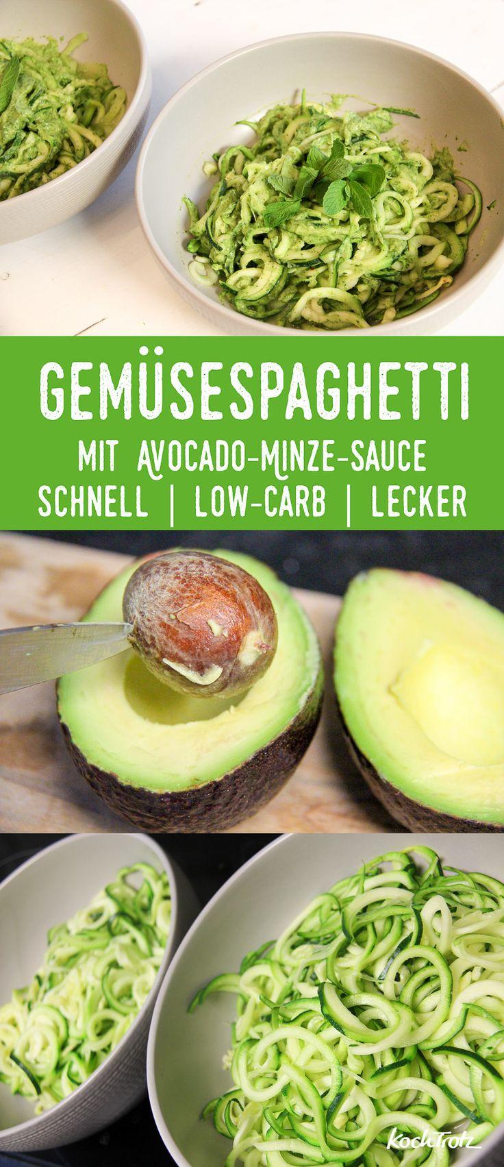 Gemüsespaghetti mit Avocado-Minze-Sauce | schnell | low-carb | lecker | Zoodles