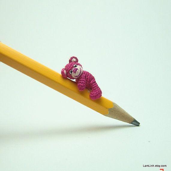 0.8 inch dark pink crochet teddy bear  micro amigurumi by LamLinh, $37.49