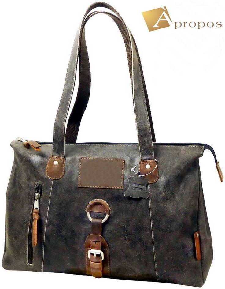 Vintage  Schultertasche 41cm Retro Wildleder Handtasche Shopper Grau