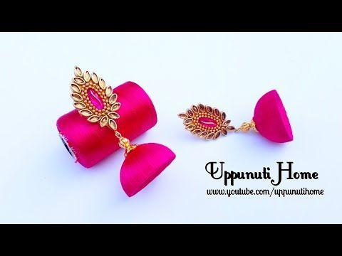 Making beautiful white and pink silk thread jhumkas/making jhumkas at home||How To Make Beautiful Silk Thread Earrings | DIY | Silk Thread Jhumkhas |Paper Ea...