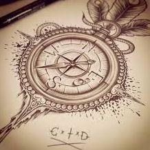 vintage compass tattoo