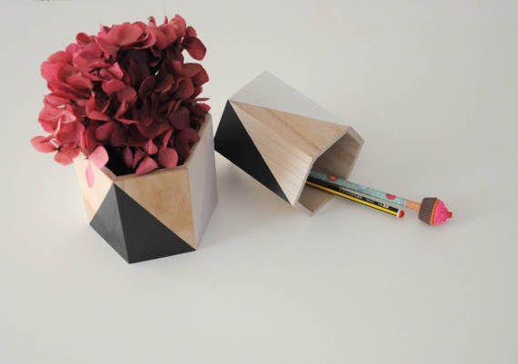 Wooden storage pot / Home office / Desk organiser / Home Decor / Plant pot / Woooden flower pots