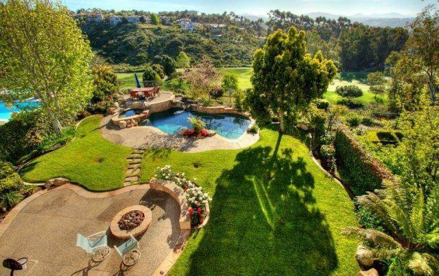 Garten Ideen für Landschaftdesign und Gestaltung-Terrasse mit naturbelassenen Schwimmbecken