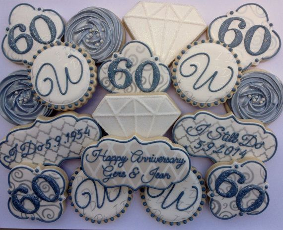 ****PLEASE SEE SHOP ANNOUNCEMENT BEFORE PURCHASING A LISTING OR ORDERING.****      This listing is for 2 dozen (24) 60th Wedding Anniversary
