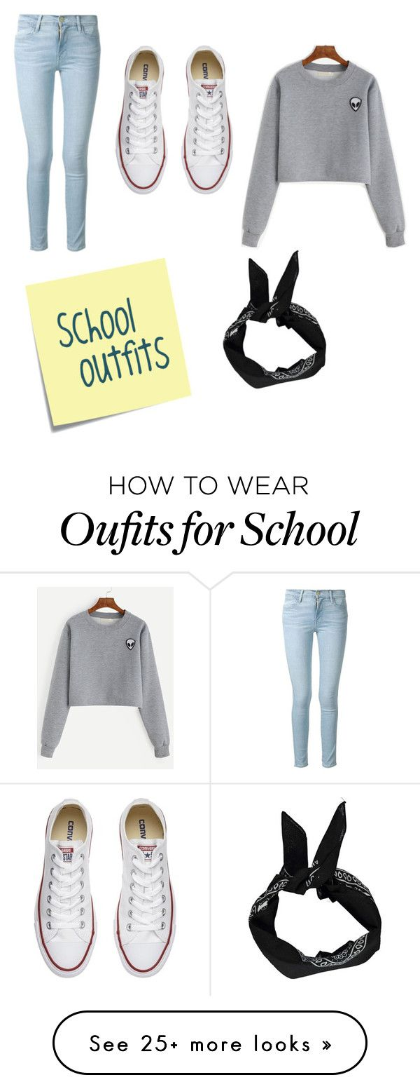 """School Outfits"" by jaricake17 on Polyvore featuring Frame Denim, Boohoo, Converse and Post-It"