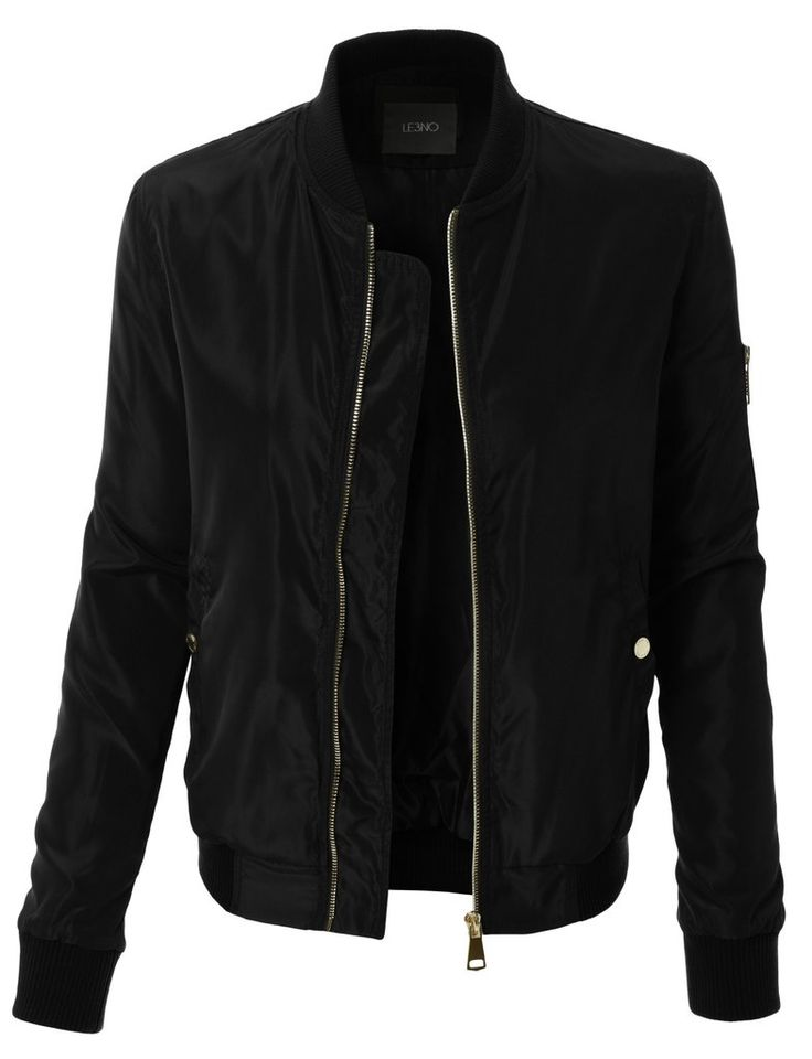 Womens Classic Slim Zip Up Biker Bomber Jacket with Pockets