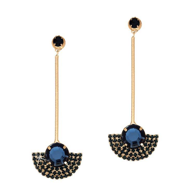 Maxi brinco pêndulo folheado em ouro 18k com cristal azul - BR290D2360
