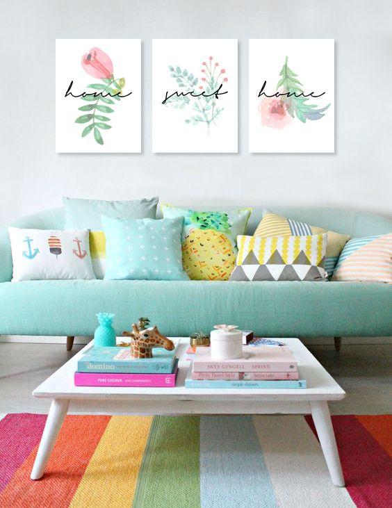 """Cuadros trípticos modernos """"Home Sweet Home"""" #cuadrostripticos #tripticos #cuadrosmodernos #cuadrosdecorativos"""