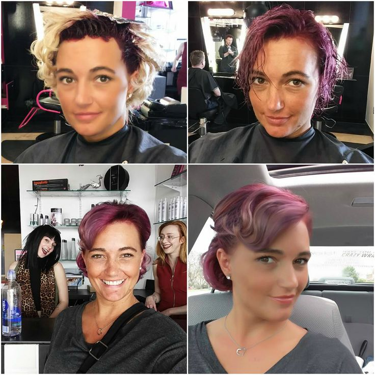 Short plum purple hair - Ginny made Sarah's hairspiration a reality. She went from platinum blonde to plum purple, and it looks so lovely!