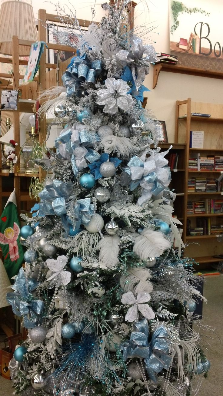 gorgeous ice blue themed christmas tree christmas pinterest christmas blue christmas and christmas tree - White Christmas Tree With Blue And Silver Decorations