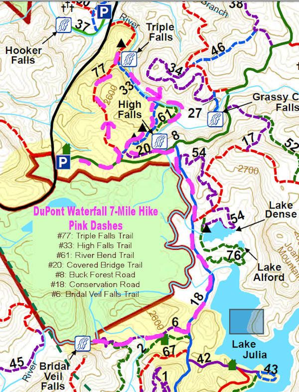 DuPont 7 Mile Waterfall Map