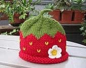 Red Strawberry Newborn Baby Girl Knitted Hat