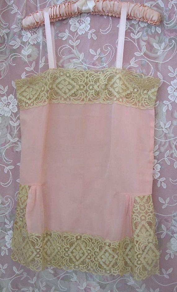 Vintage 20s 1920s PINK Silk Flapper Slip by VintageClothingandCo,