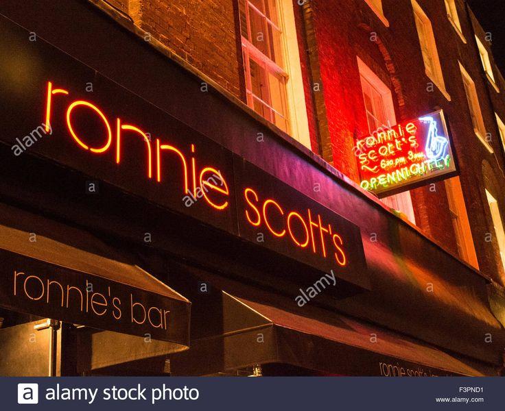 Night Time  Jazz    Night-time view of Ronnie Scott's Jazz Club in Soho, London, UK Stock ...