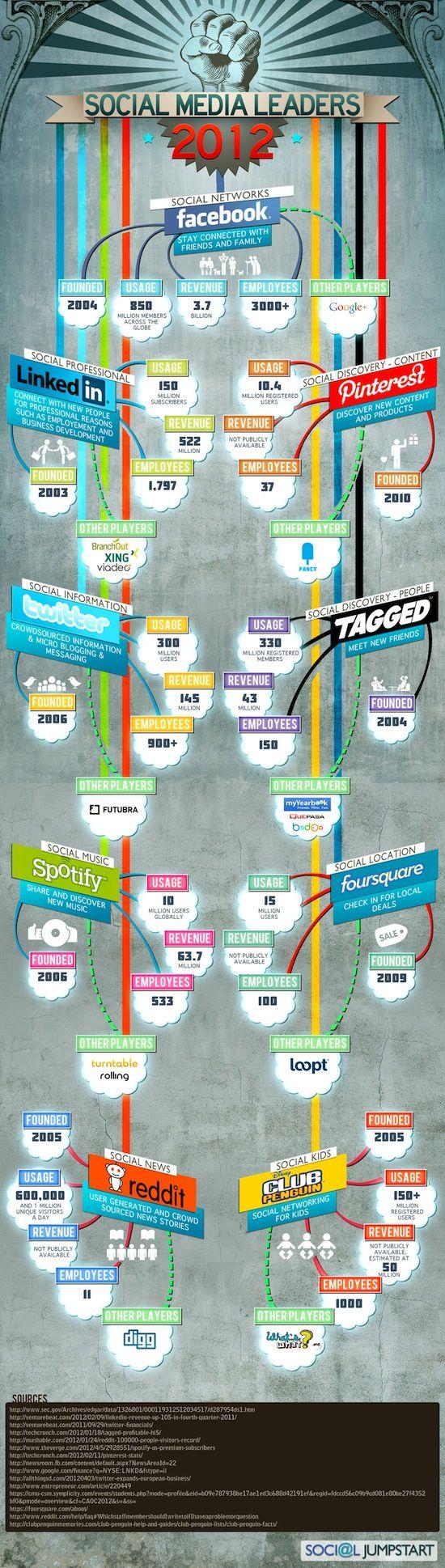 Les leaders du #SocialMedia 2012 ! #Infographie