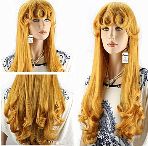 Anogol Hair Cap Womens Curly Prestyled Cosplay Wig Long Gold Wigs ** You can find out more details at the link of the image.Note:It is affiliate link to Amazon.