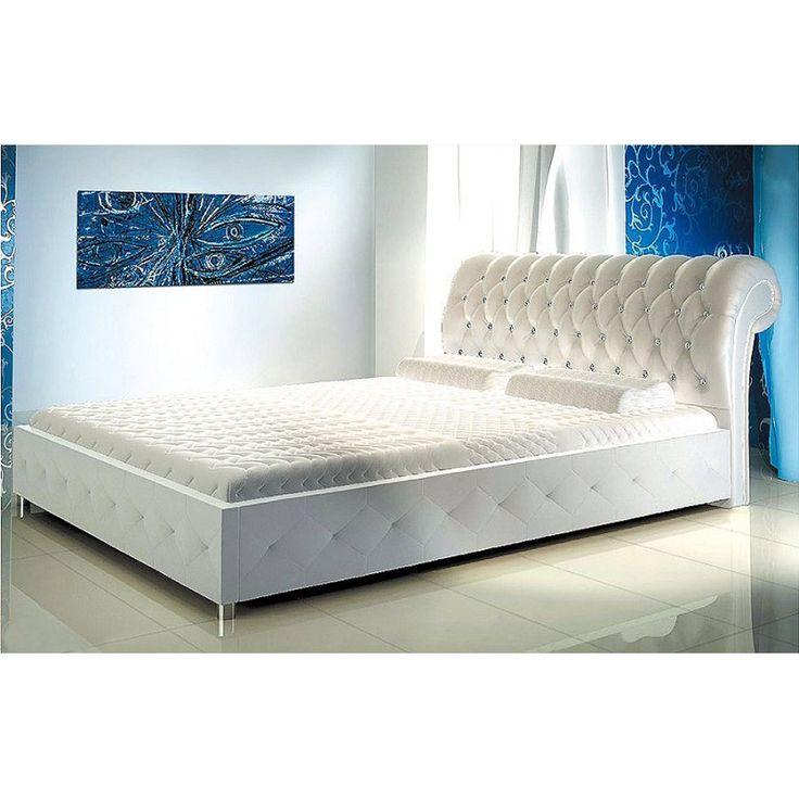 Łóżko z pikowanym wezgłowiem Iris