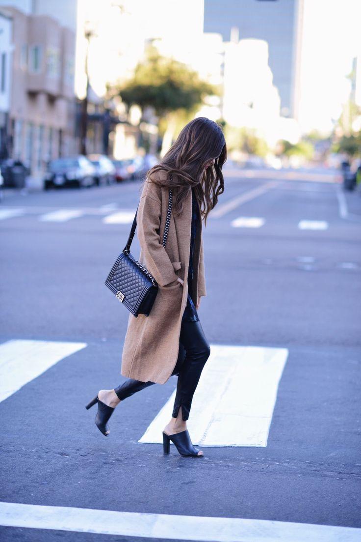 Camel coats are totally in coat with leather leggings and a pair of black heels. Coat: Few Moda, Dress: Fifteen Twenty Dress, Leggings: LXE.