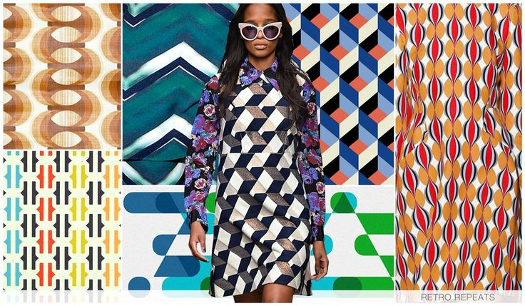 RETRO REPEATS We take inspiration from the women's market within Retro Repeats, as geometrics are heavily repeated and have a retro sensibility. Optical illusions and three-dimensional shaping's are particularly inspiring, and tonal chevrons add new interest.