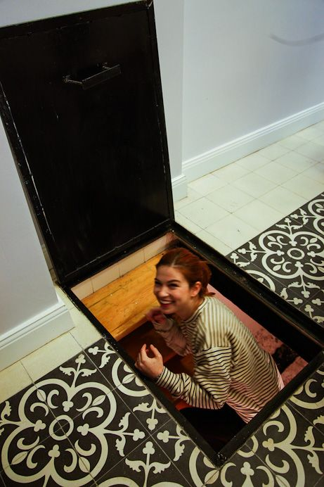Secret entrance to a hidden room. Like the way the entrance is seamlessly concealed in the floor patterns.